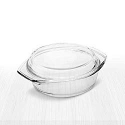 Simax Clear Round Glass Casserole | With Lid, Heat, Cold and Shock Proof, Made in Europe, 1 Quart
