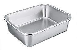"""TeamFar Rectangular Cake Pan Brownie Pan, Stainless Steel Lasagna Casserole Baking Pan, 8""""x10""""x3"""", Rust Free & Non Toxic, Easy Clean & Dishwasher Safe"""