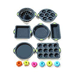 To encounter 31 Pieces Silicone Bakeware Set – 7 Silicone Baking Pans – 24 Silicone Muffin Donut Molds Non Stick Silicone Baking Molds with Metal Reinforced Frame More Strength