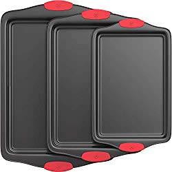 Vremi 3 Piece Nonstick Baking Sheets Set – Professional Non Stick Oven Tray Set for Baking – Non-Toxic Rimmed Carbon Steel Baking Pans Cookie Sheets with Wide BPA Free Red Silicone Handles