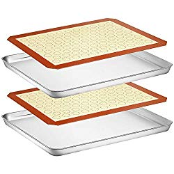 Wildone Baking Sheet with Silicone Mat Set, Set of 4 (2 Sheets + 2 Mats), Wildone Stainless Steel Cookie Sheet Baking Pan with Silicone Mat, Size 16 x 12 x 1 inch, Non Toxic & Heavy Duty & Easy Clean