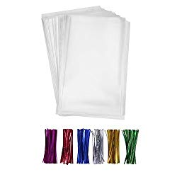 200 Clear Treat Bags 6×9 with 4″ Twist Ties 6 Mix Colors – Thick OPP Plastic Bags for Wedding Cookie Birthday Cake Pops Gift Candy Buffet Supplies