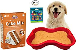 Dog Birthday Cake Kit | Puppy Cake Wheat-Free Peanut Butter Dog Cake Mix and Frosting | Happybotham Silicone Dog Bone Birthday Cake Pan for Dogs, 7-Inch by 10-Inch, Small | Birthday Candles (Red)