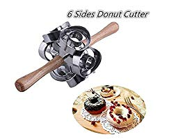 FCOZM Metal Revolving Donut Cutter Maker Machine Mold Pastry Dough Baking Roller For Cooking Baking (Round Shapes)