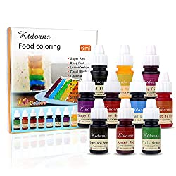 Food Coloring – 10 Color cake food coloring liquid Variety Kit for Baking, Decorating,Fondant and Cooking, Slime Making Supplies Kit – .25 fl. oz. (6ml) Bottles