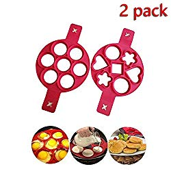 FQMY Pancake mold maker, 2 pack Upgrade 14 Cavity Nonstick Silicone Baking Round Mold Egg Rings Muffin Pancake Mould Heart, Dishwasher Safe