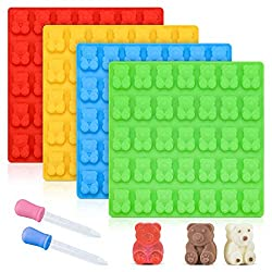 Gummy Bear Molds Candy Molds – Large Gummy Molds 1 Inch Bear Chocolate Molds Silicone 4 Pack LFGB Pinch Test Approved Best Food Grade Silicone Molds