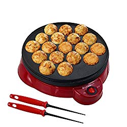 Health and Home Electric Takoyaki Maker With Free Takoyaki Tools – Specialty & Novelty Cake Pans for Takoyaki Octopus Ball, Cake Pop, Ebelskiver, Aebleskiver – Electric Takoyaki Grill – Portable, Compact, Easy Clean