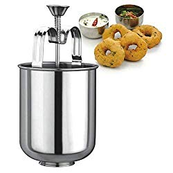 IndiaBigShop Stainless Steel MEDUVADA Maker for Perfectly Shaped & Crispy Medu Vada, Hygienic Without Any Hassle, Manual Donut Maker, Doughnut Maker, Steel Doughnut