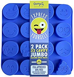 Jumbo Sized Silicone Emoji Molds – 32 Cavity 2 Pack Set by PennyCo Kitchen