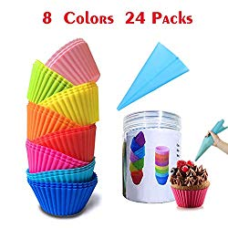 Lasten Silicone Cupcake Liners with Pastry Bag and Storage Tank as Bonuses, Reusable & Non-stick Baking Cups, standard Muffin Cups Chocolate Holders Truffle Cups (24 pcs /8 colors)