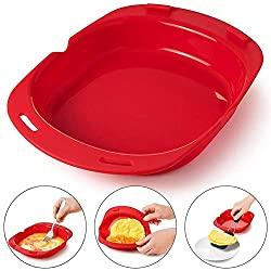 Omlette Maker, Microwave Oven Silicone Omelette Mold Tool Egg Roll Baking Tray Egg Roll Maker Steamer