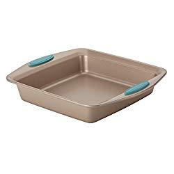 Rachael Ray 46681 Cucina  Nonstick Baking Pan / Nonstick Cake Pan, Square – 9 Inch, Brown