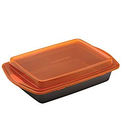 Rachael Ray 57994 Nonstick Bakeware with Grips Nonstick Baking Pan With Lid and Grips/ Nonstick Cake Pan With Lid and Grips, Rectangle – 9 Inch x 13 Inch, Gray