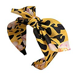 Sayhi Women's Leopard Bow Knot Headband Broadside Comfortable Hair Hoop Girls Hair Accessories (Yellow,Free Size)