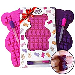 "UNIQUE Extra Large Gummy Bear Mold – 2 Big Molds + 2 Bonus Droppers – Durable BPA Free Silicone -""The Bears Popped out Easily, They are so Cute and Have Unique Details That Actually Came Out"" (A.C)"