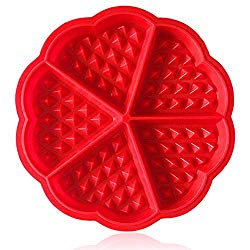 Waffle Mold Amison Bakeware Silicone Waffle Baking Molds Flower Heart Shape Muffin Mould, Red