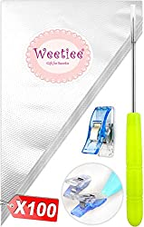 Weetiee Tipless Piping Bags – 100pcs 12-Inch Disposable Piping Pastry Bag for Royal Icing/Cookies Decorating – Best Frosting Icing Bags Cookie/Cake Decorating Tools – Bonus 2 Clips &1 Scriber Needle