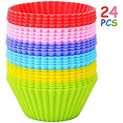 Yarssir 24 Pack Rainbow Bright Standard Silicone Reusable Cupcake Liners/Baking Cups/Muffin Cups/Baking Mold set for Party Fun